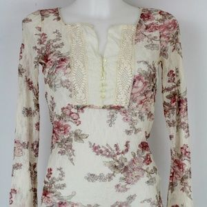 Denim & Supply Tan Floral Sheer Top Size Small